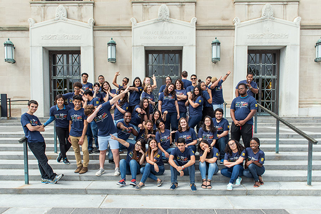 2016 SROP participants on the front steps of Rackham.