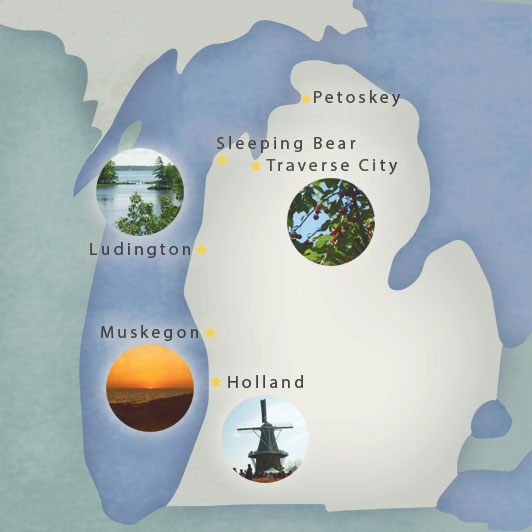 A map of places to visit on Michigan's west coast.