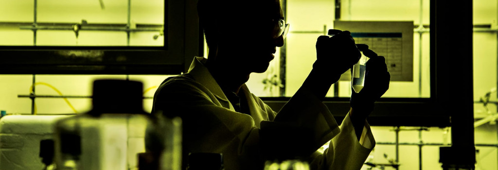 A student in a lab.