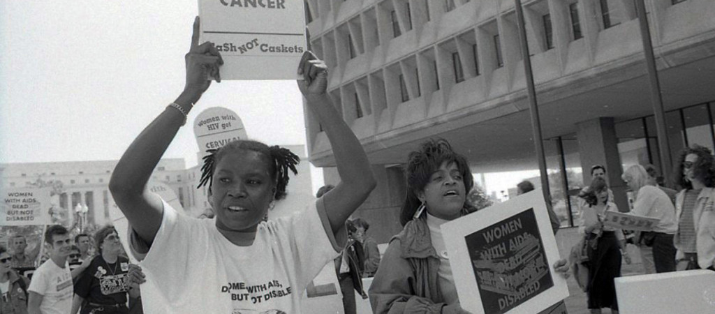 Pictured here is Katrina Haslip, an HIV-positive, formerly incarcerated Black Muslim woman who was known to raise awareness about how women were uniquely affected by HIV/AIDS. Along with the mobilization of other HIV/AIDS activists, Katrina pressured the CDC to broaden its surveillance definition of AIDS to include conditions faced by women. This image is taken from the recent documentary Nothing Without Us: The Women Who Will End AIDS, by director Harriet Hirshorn and distributed by Women Make Movies.