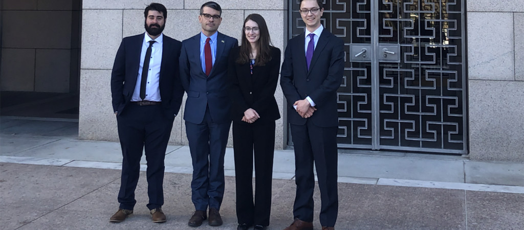 Left to right: Carlos Puentes Mestril, John Charpentier, Samantha Basile, and William Dean in Washington, D.C.
