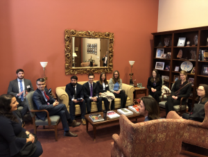 Students from University of Michigan, Michigan State University, and Wayne State University meet with Lot Kwarteng, Legislative Assistant from the office of Senator Debbie Stabenow.