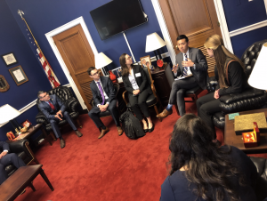 Students from University of Michigan, Michigan State University, and Wayne State University meet with Alex Huang, Legislative Assistant from the office of Congresswoman Brenda Lawrence.