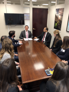Students from University of Michigan, Michigan State University, and Wayne State University meet with congressional staffers from the office of Senator Gary Peters. University of Michigan alumnus, Dr. Benjamin Isaccoff (center left), gives advice based on his experience moving from academia to the AAAS Science and Technology Policy Fellowship.