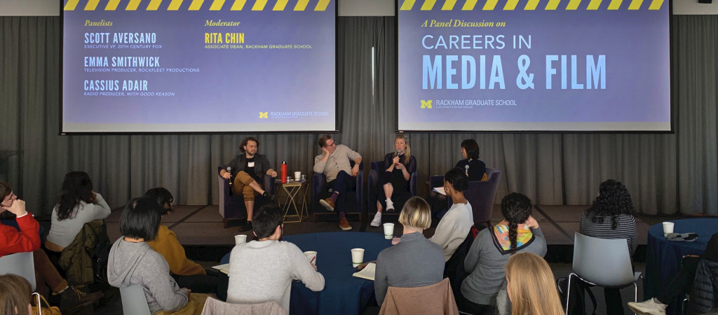 Panelists address the gathered attendants during the Careers in Media & Film event.