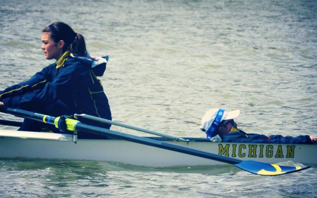 Traci Carson rowing for Michigan
