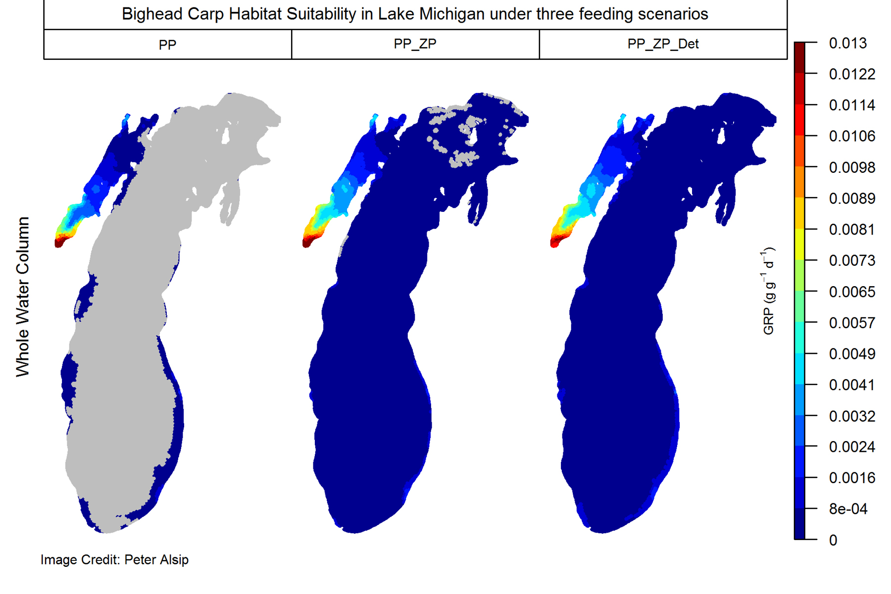 Three maps of Lake Michigan showing progressively wider potential habitats for Asian carp.