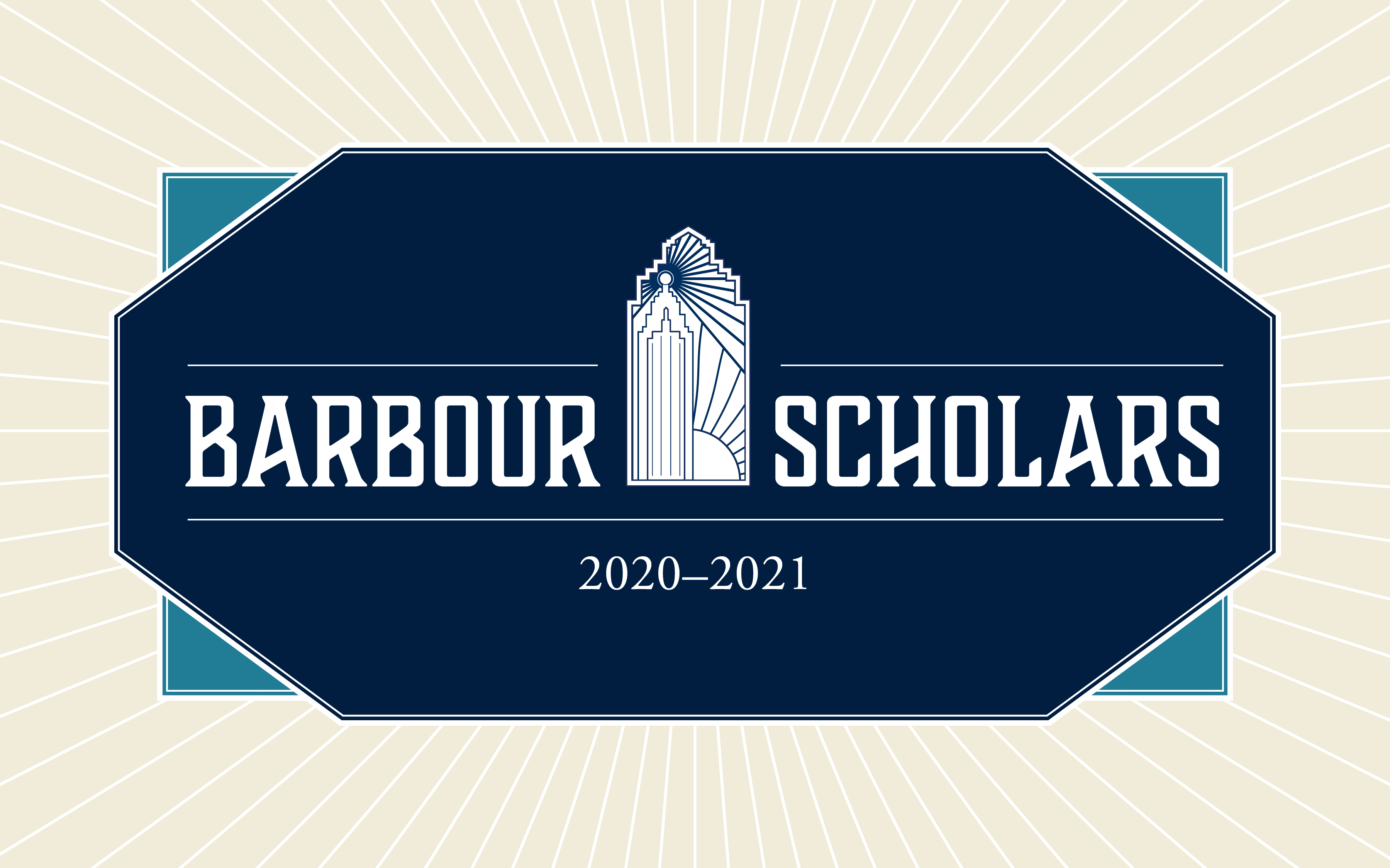 "Text reading ""Barbour Scholars 2020-2021"" with an illustration of Burton Tower over a blue background."