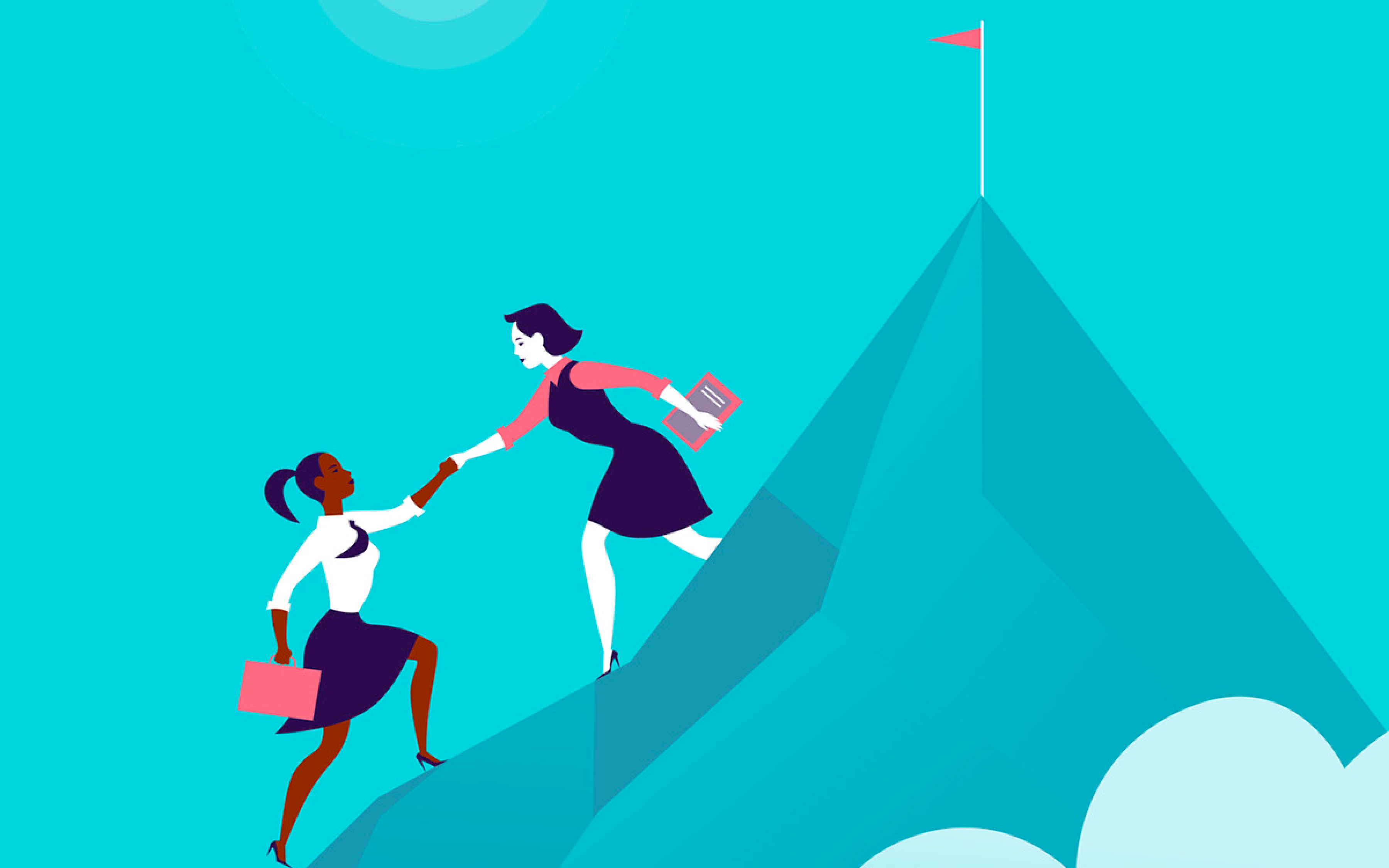 A graphic of two women helping each other climb a mountain.