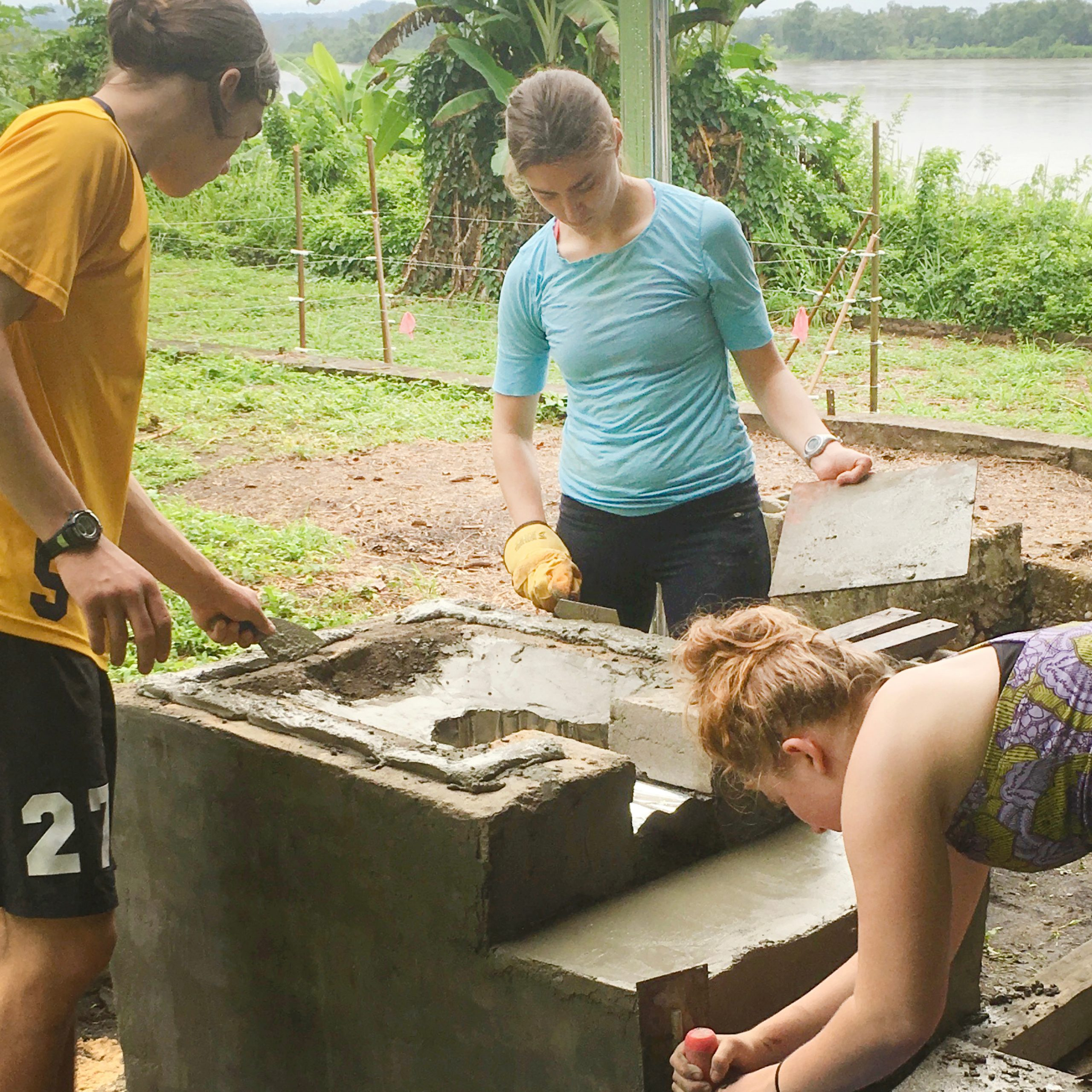 Students working on a sustanability project in Gabon.