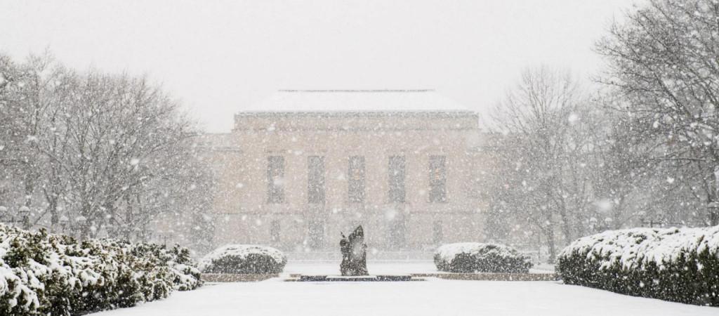 The Rackham Building in snow.