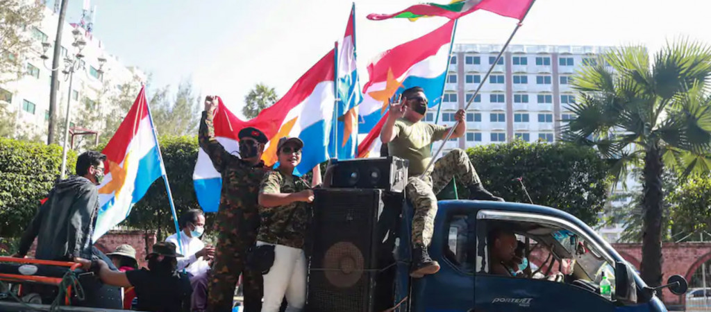 Military supporters in Myanmar.